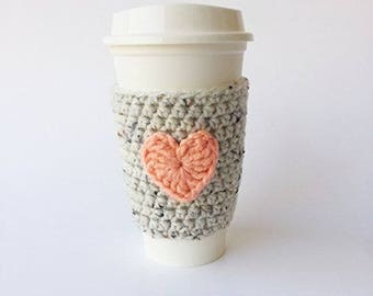 Coffee Cup Sleeve- Oatmeal and Coral Cozy - To Go Cup Sleeve - Reusable Coffee Sleeve - Heart Cozy - Teacher Gift