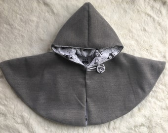 Baby cape, child lined cape, baby poncho, child poncho, poncho baby hoodie, woolen cloth cape, baby coat, child coat