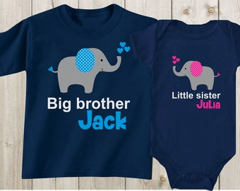Big brother little sister Shirts Big bro Lil Sis Shirts Matching Outfits Matching Shirts Sibling Shirts Personalized Shirts Baby Shower Gift