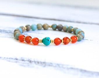 Mala Bracelet, Wrist Mala Beads, Yoga Bracelet, Genuine Turquoise Bracelet, Aqua Terra Jasper / African Opal, Carnelian, Spiritual Jewelry