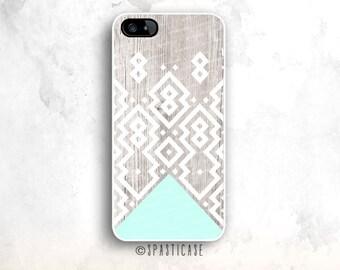 iPhone 6S Case, Geometric iPhone 5 Case, Aztec iPhone 5S Case, iPhone 6S Case Aztec, iPhone SE Case, iPhone 6 Case Aztec Mint Blue Wood, 5C