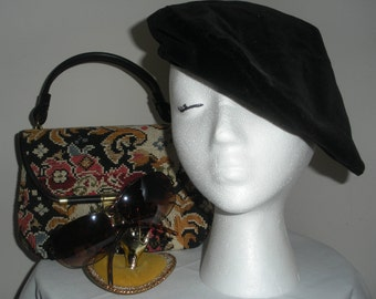 Vintage Frank Olive Beret Tam Black Hat Velvet