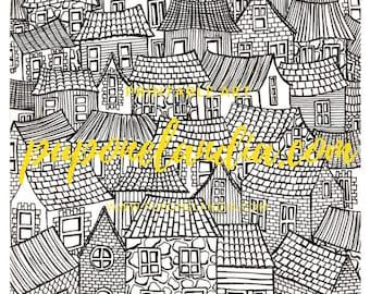 Printable illustration, Printable Art, Mandala art, Printable Houses sketch, Black/white illustration, Town Illustration, Digital download
