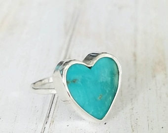 Turquoise heart ring Size 7