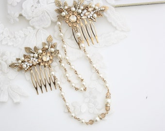 Wedding Headpiece Bridal Head Chain Antique Gold Leaf Hair Accessory Champagne Crystal and Pearl Gift for Bride Rustic Vintage Wedding