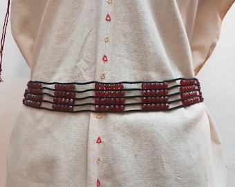 Beads and cordon ethnic belt. Tribal belt. Hippie belt. Boho Belt.