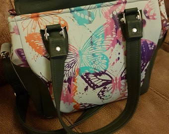 Handpainted faux leather butterfly handbag