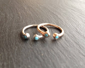 Duo ring, rose gold plated, sterling silver, turquoise zircon