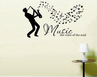 Saxophone Musician Music the voice of the soul Wall Art Sticker quote LSWA7354
