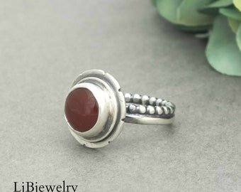 Red Carnelian Ring, Silver Ring, Sterling Silver, Red Carnelian, Silver Jewelry, Metalsmith, Artisan Jewelry