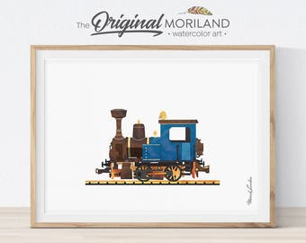 Steam Locomotive Print, Train Printable, Locomotive Art, Prints for Boys Room, Train Nursery Print, Play Room Decor, Transportation Nursery