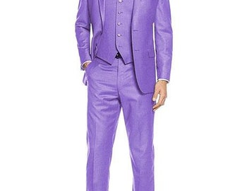 Mens ALBERTO NARDONI Festive Lavander 3 Piece Dress Formal Suit with Flat Front Pants High Quality