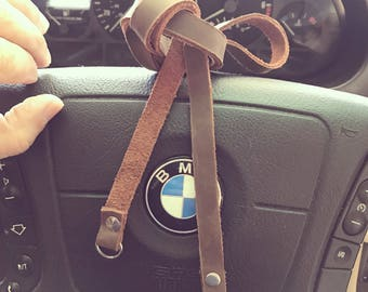 Handcrafted leather camera neck strap handmade USA simple design, one piece