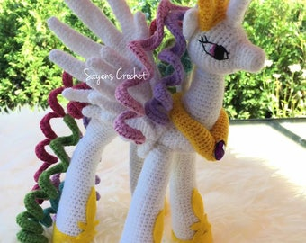 Celestia Princess, crochet, little pony, princesa celestia, stuffed toy, unicorn amigurumi