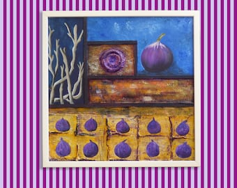 Purple and Blue abstract painting, Fruits abstract art, Modern art abstract, White framed canvas, Original painting, Living room wall art