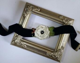 White Poppy Flower Choker in Black Velvet, Handcrafted Floral Necklace