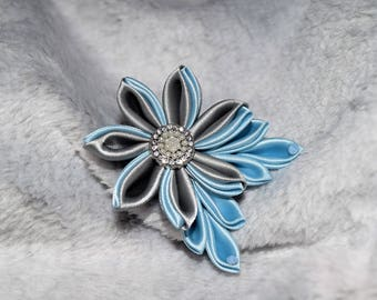 Light Blue and Grey Small Kanzashi Flower