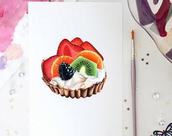 Fruit Flan Art Fruit Slices Art Fruit Bowl Fruit Pie Print Berry Tart Bakery Display Art Dessert Table Art Kiwi Art Baker Shop Decor Bakery