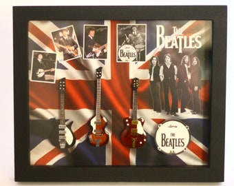 THE BEATLES Miniature Guitars Collction in Shadowbox Frame