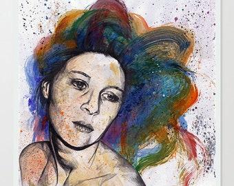 Rainbow hair woman drawing, Pop art illustration, Female portrait, Figurative art, Lustre photo print, Street art print, Modern wall art