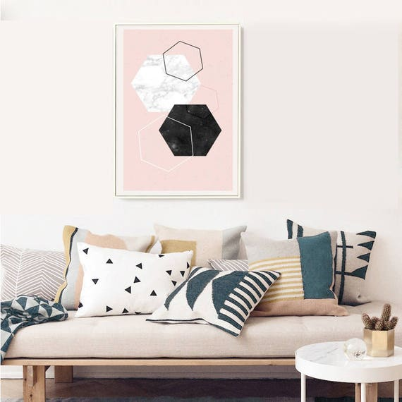 DIAMOND AND MARBLE // Mid Century poster, 18x24, abstract art, diamonds, pink