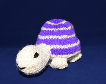 Knitted Tortoise/turtle in cream and purple
