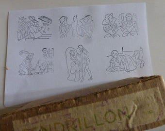 Cinderella, 6 Rubber Stamps, Old French School. Original Box , Circa 1950's