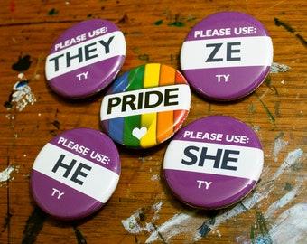 Pride & Pronoun Buttons