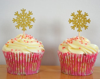 Gold Snowflake Cupcake Topper/ Snow Cake Toppers/ Pack of 6/ Christmas Cupcake Toppers