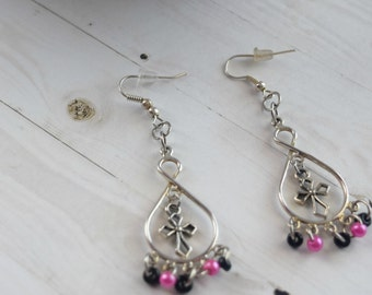 Silver Cross Earrings | Earrings With Cross, Earrings For Wife, Pink Earrings For Her, Earrings For Mom, Beaded Earrings, Bridesmaid Gift