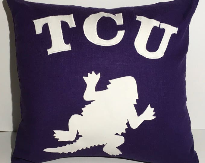 Purple Linen Blend TCU Horned Frog Pillow 16x16 Pillow Cover with pillow White Applique Frog and Lettering