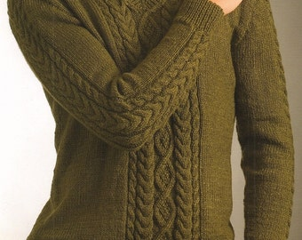 Mens Cable V Neck Sweater, Knitting Pattern.  PDF Instant Download.