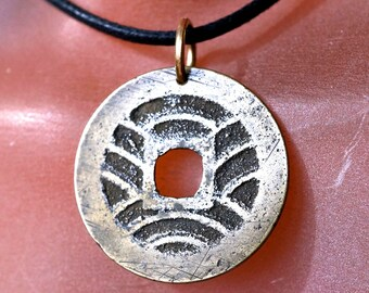ANTIQUE JAPANESE Coin NECKLACE. pendant. Japan charm.  Japan coin jewelry.  mens jewelry No.002065