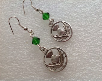 Antique Silver Thistle Earrings, Dangeling Earrings, Scottish Thistle Earrings, Gift for Her