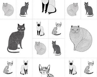 Catnip Cat Fabric, Black & White Cats, Gingiber for Moda, 48231 11 Cat Blocks - priced by the Panel