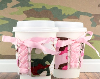 Camo Cup Sleeve // Military Stars Camo - Pink Cup Cozy // adjustable // reversible // beverage cozy // drink sleeves // eco-friendly