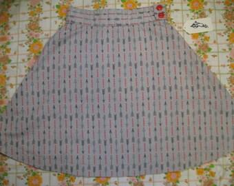 Grey arrows high-waisted a-line skirt 28 inch waist with pocket, M
