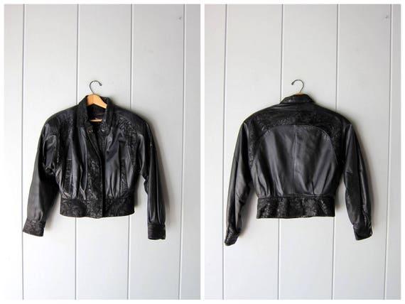 Vintage 80s Black Leather Coat Cropped Black Leather Bomber Jacket Slouchy Suede Jacket Crop Biker Motorcycle Jacket Women's Small Medium