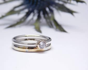 Cultivated Diamond Engagement Ring and Wedding Band Set, Wedding Band Set, Silver ring, Engagement and Wedding Ring