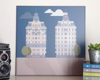 Twin palaces of piazza Piemonte, Milan, illustrated by Milan Icons. Digital print on aluminium, 30 x 30 cm