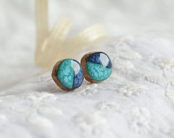 Blue earrings, little wooden studs, wooden round studs, sterling silver stud earrings, tree branch earrings, wooden craft