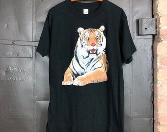 1980s Tiger Graphic Tee Vintage Screen Stars Made in USA Black Tee T Shirt - Large / XL