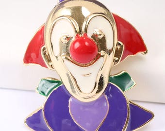 Vintage 1970s Stunning Colourful Clown Brooch