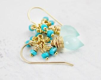 Light Aqua Earrings, Turquoise Blue Earrings, Turquoise Gemstone Earrings, Gold Filled Earrings, Wire Wrap Earrings, Small Dangle Earrings