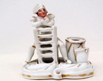 Antique Porcelain Inkwell Depicting Napoleon