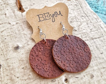 Leather Earrings, Dangle Earrings, Lightweight Earrings, Flower Earrings, Statement Earrings, Textured Earrings, Brown Leather Earrings