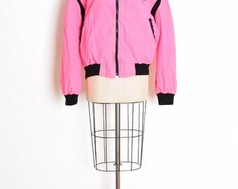 90s windbreaker, vintage 90s jacket, neon pink jacket, neon windbreaker, early 90s clothing, pink black, mirage hotel, embroidered jacket