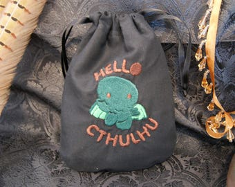 Small bag with Cthulhu motif in cotton