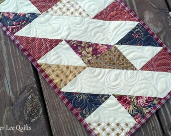 Quilted Table Runner - Patchwork Table Runner - Rustic Table Quilt - Floral Table Runner - Red and Tan Table Decor - Ready to Ship