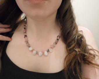 Cherry quartz, tourmalated quartz and crystal rock necklace
